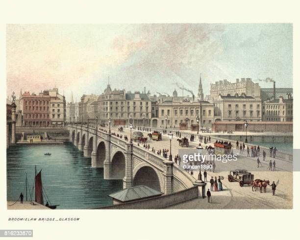 the broomielaw bridge, glasgow, scotland 19th century - clyde river stock illustrations, clip art, cartoons, & icons