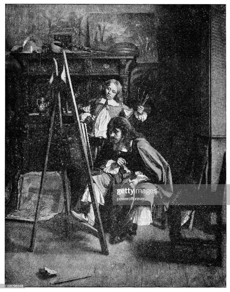 The Brothers Van de Velde by Ernest Meissonier - 19th Century : Stock Illustration