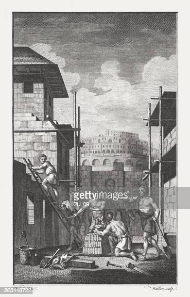 the building of babel (genesis 11), copperplate engraving, published 1774 - ancient babylon stock illustrations