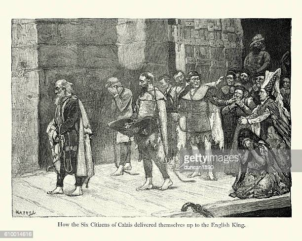 the burghers of calais - hundred years war stock illustrations, clip art, cartoons, & icons