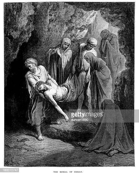 the burial of jesus christ - tomb stock illustrations