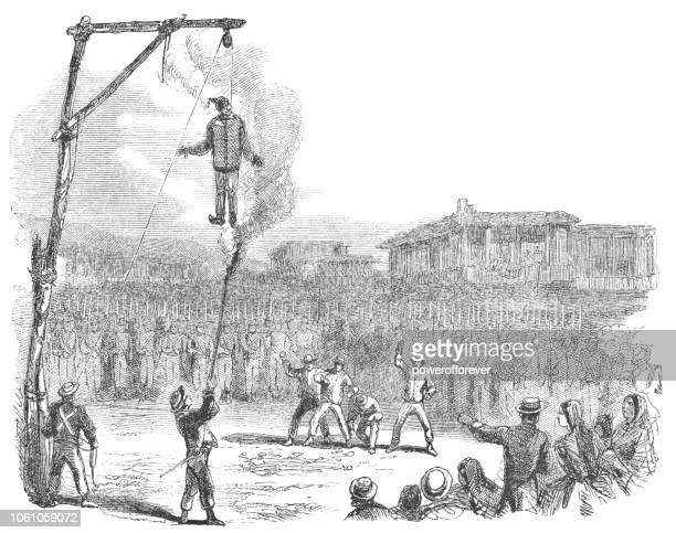 the burning of judas easter ritual in san josé, costa rica (19th century) - holy city stock illustrations