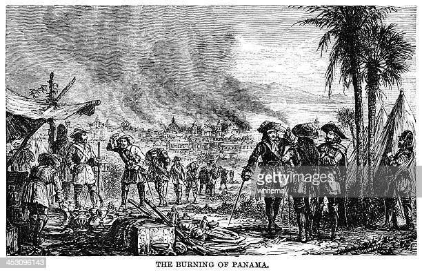 the burning of panama - infamous stock illustrations, clip art, cartoons, & icons