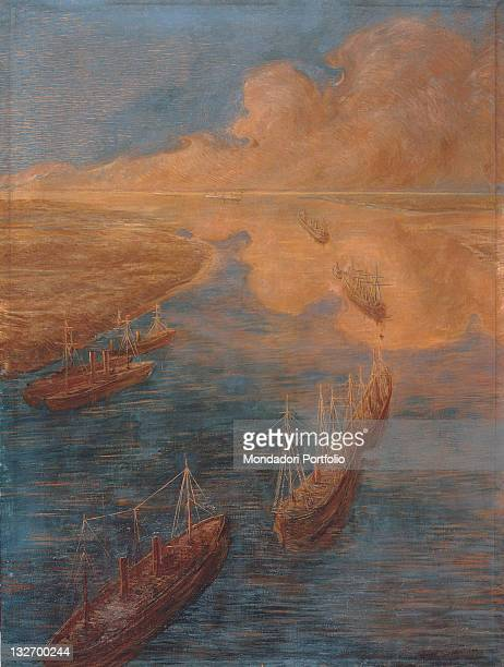 Italy, Lombardy, Milan, Chamber of Commerce, Industry. Whole artwork view. Sea boats crafts banks clouds blue ochre yellow pink Suez Canal.