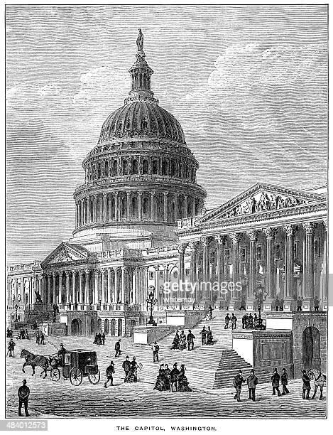 das capitol, das washington (aus 1882 gravur - senat stock-grafiken, -clipart, -cartoons und -symbole