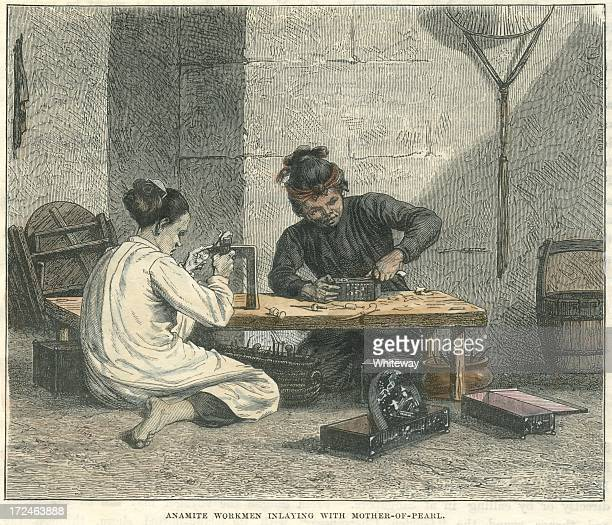 Vietnamese workmen inlaying with mother-of-pearl 19th century 1876