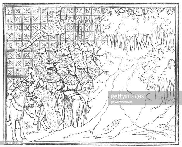the capture and death of king richard a illuminated manuscript by jean creton - henry v of england stock illustrations, clip art, cartoons, & icons