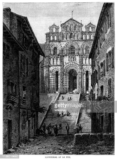the cathedral of le puy (cathedral of our lady of the annunciation), france - auvergne rhône alpes stock illustrations, clip art, cartoons, & icons