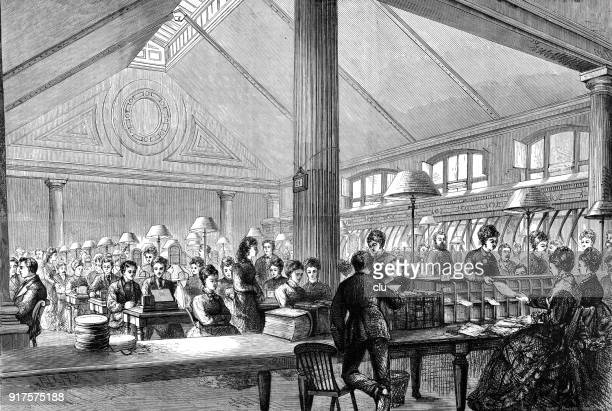the central telegraph office in london - 1877 stock illustrations, clip art, cartoons, & icons
