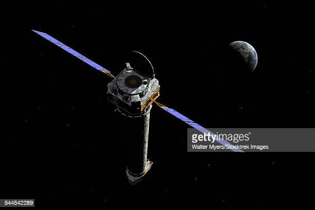 illustrazioni stock, clip art, cartoni animati e icone di tendenza di the chandra x-ray observatory as it may appear about 50,000 miles from earth. - osservatorio a raggi x chandra