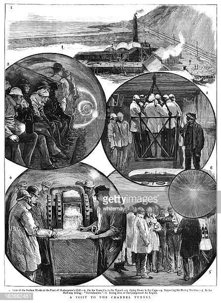 ilustraciones, imágenes clip art, dibujos animados e iconos de stock de el túnel del canal de 1882 - ingeniero civil