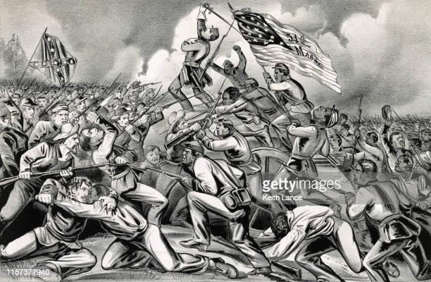 ilustrações, clipart, desenhos animados e ícones de a acusação do 54 º regimento de infantaria de massachusetts, 1863 - infantaria