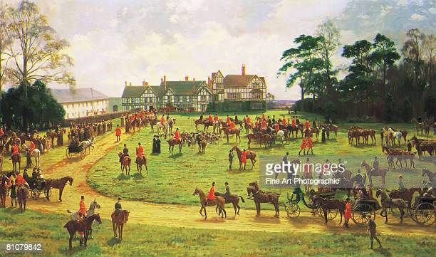 the cheshire hunt - large group of people stock illustrations