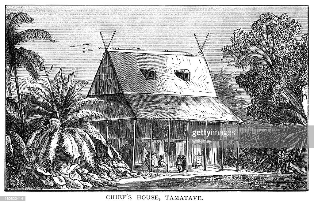 The Chief's House, Tamatave, Madagascar - Victorian engraving : Stock Illustration