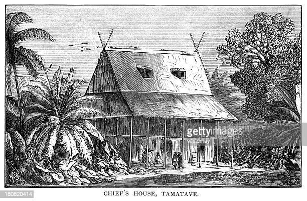the chief's house, tamatave, madagascar - victorian engraving - madagascar stock illustrations, clip art, cartoons, & icons