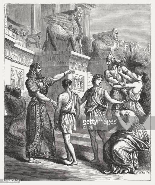 the children of jewish prisoners are sold (joel 3, 8) - ancient babylon stock illustrations