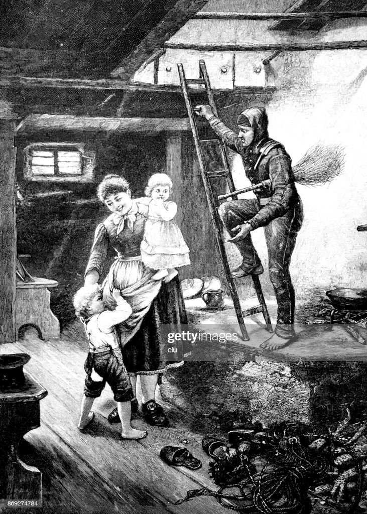 The Chimney Sweep Goes Up To Roof And Is Watched By Family Stock
