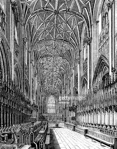the choir in york minster (victorian woodcut) - circa 14th century stock illustrations, clip art, cartoons, & icons