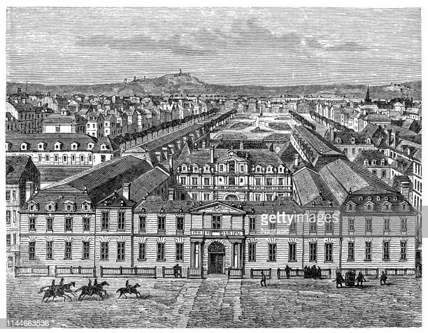 the château de richelieu was an enormous 17th century château (manor house) built by the french clergyman, nobleman, and statesman cardinal richelieu (1585–1642) in touraine - loire valley stock illustrations, clip art, cartoons, & icons