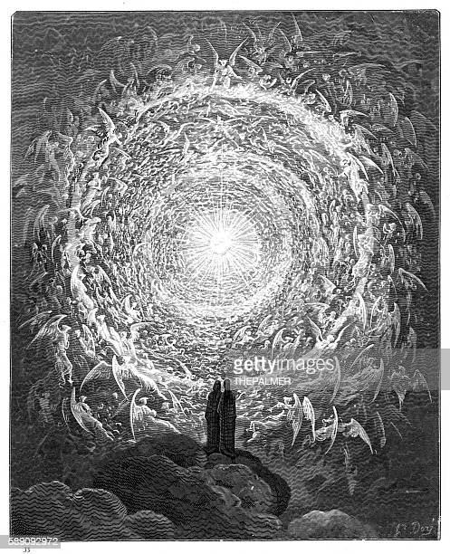 the circle of angels paradiso 1870 - heaven stock illustrations