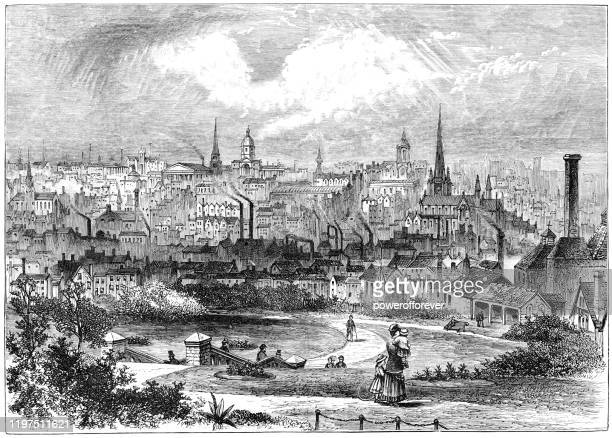 die stadt birmingham in west midlands, england - 19. jahrhundert - birmingham west midlands stock-grafiken, -clipart, -cartoons und -symbole