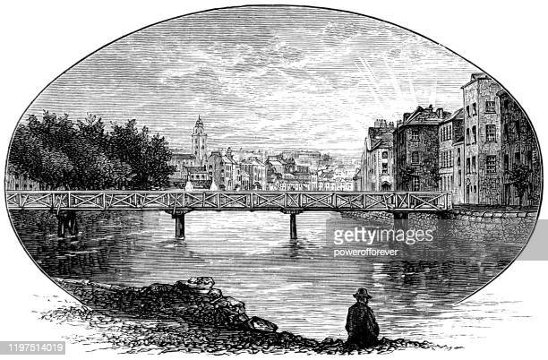 the city of cork in county cork, ireland - 19th century - cork city stock illustrations