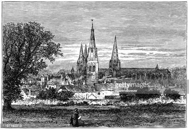 イングランド・スタッフォードシャーのリッチフィールド市 - 19世紀 - スタッフォードシャー リッチフィールド点のイラスト素材/クリップアート素材/マンガ素材/アイコン素材