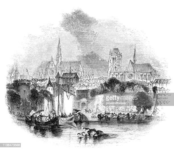the city of orleans in france - 15th century - loire valley stock illustrations, clip art, cartoons, & icons