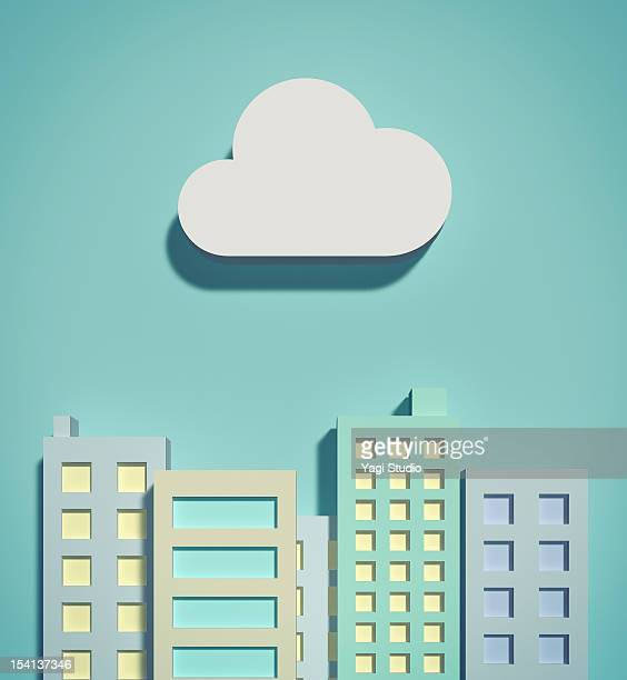 the cloud network and office buildings - skyscraper stock illustrations