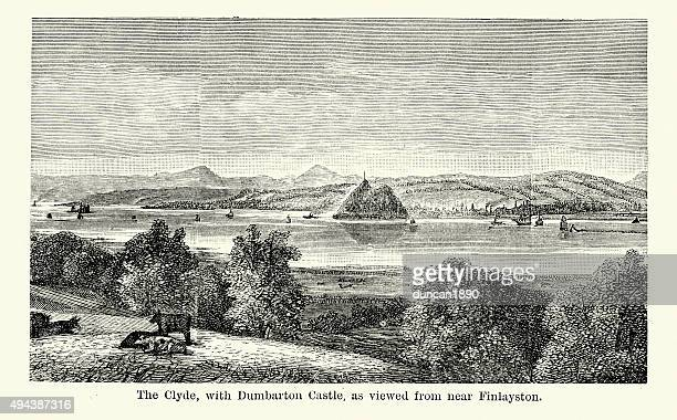 the clyde with dumbarton castle - clyde river stock illustrations, clip art, cartoons, & icons