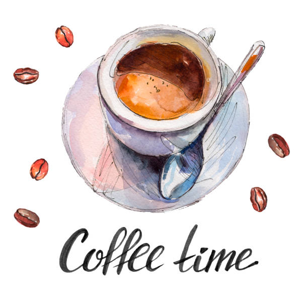 The coffee cup with beans and lettering 'Coffee time' isolated on white background, watercolor illustration in hand-drawn style.