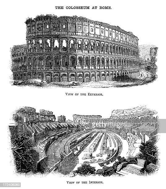 the coliseum in rome - victorian woodcuts - capitol rome stock illustrations, clip art, cartoons, & icons