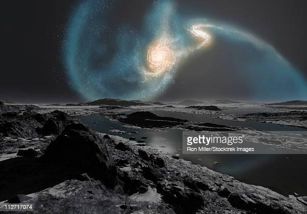 ilustraciones, imágenes clip art, dibujos animados e iconos de stock de the collision of the milky way and andromeda galaxies seen from the earth. - galaxiaespiral