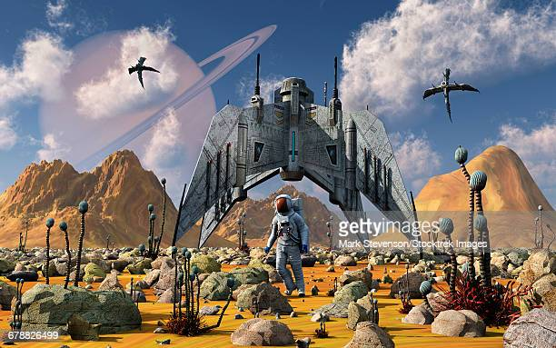 The colonization of an alien world during the day in Earths distant future.