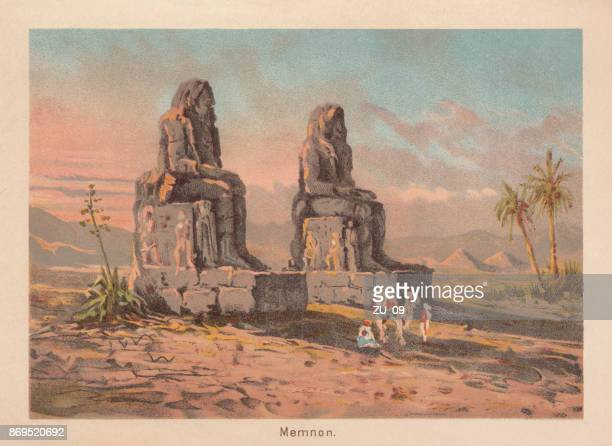 the colossi of memnon, near theben, egypt, lithograph, published 1887 - archaeology stock illustrations