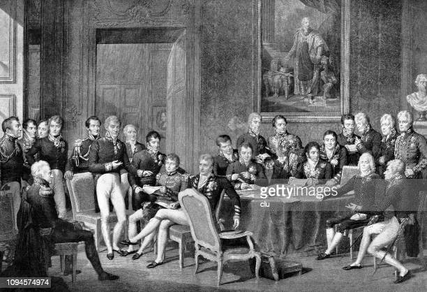 the congress of vienna 1814 - congress stock illustrations