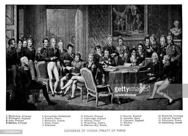 the congress of vienna treaty of paris signing - 19th century - representative member of congress stock illustrations