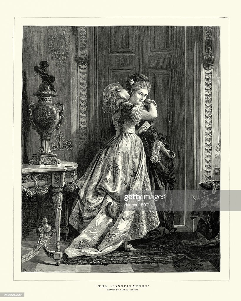 The Conspirators Victorian women whispering to each other : stock illustration