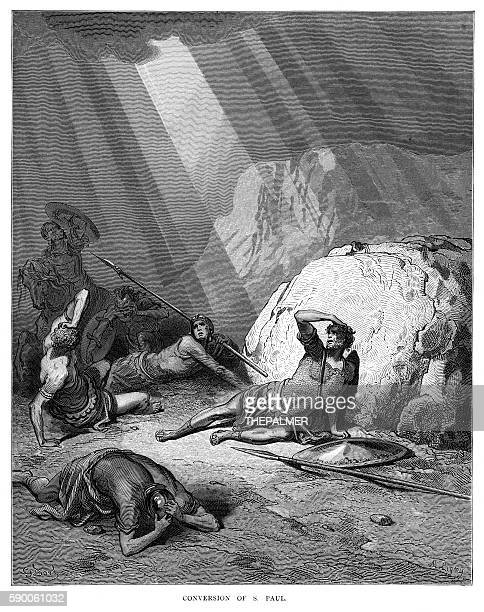 the conversion of s. paul engraving 1870 - paul the apostle stock illustrations