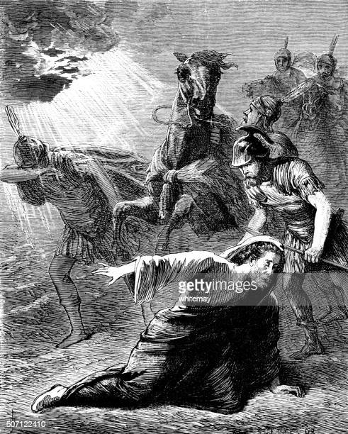 the conversion of saul on the road to damascus - damascus stock illustrations