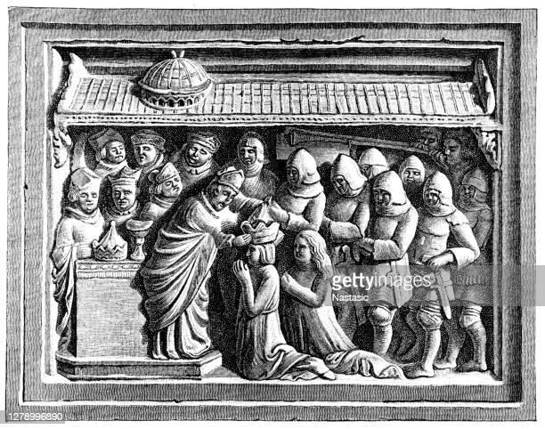 ilustrações, clipart, desenhos animados e ícones de a coroação de luís da baviera na basílica de são pedro pelo bispo de arezzo, guido tarlati di pietramale, alívio do túmulo de mármore do bispo na catedral de arezzo, itália - bishop clergy