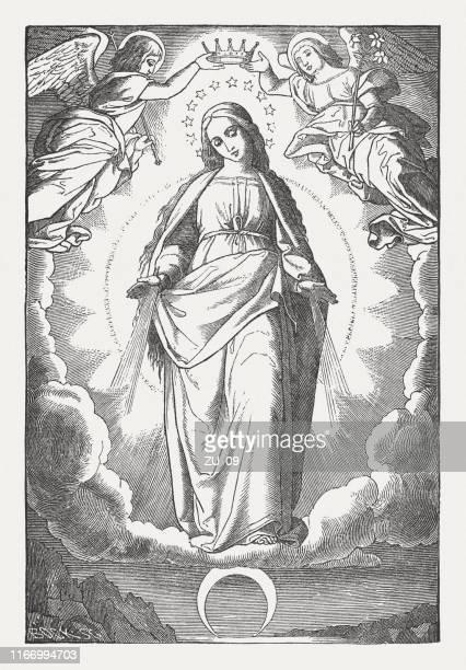 illustrations, cliparts, dessins animés et icônes de le couronnement de la vierge, gravure sur bois, publié en 1850 - la vierge marie