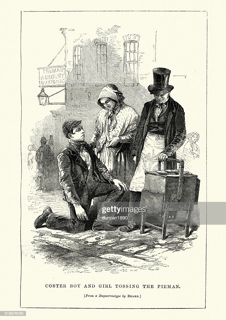 The Coster Boy and Girl Tossing the Pieman : stock illustration