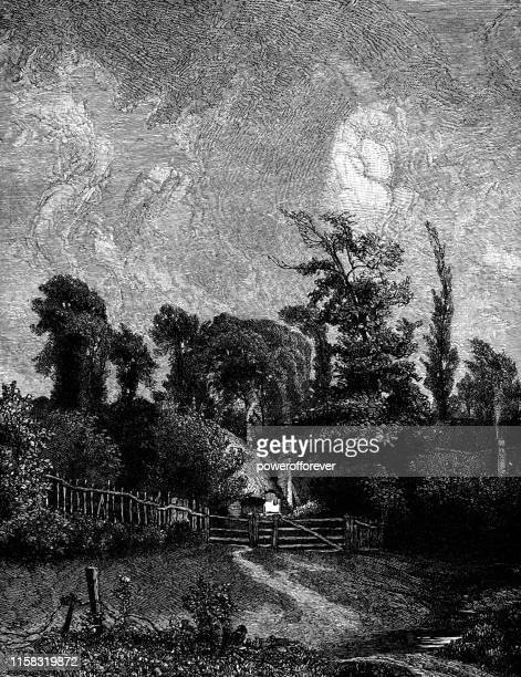 the cottage by john constable - 19th century - john constable stock illustrations