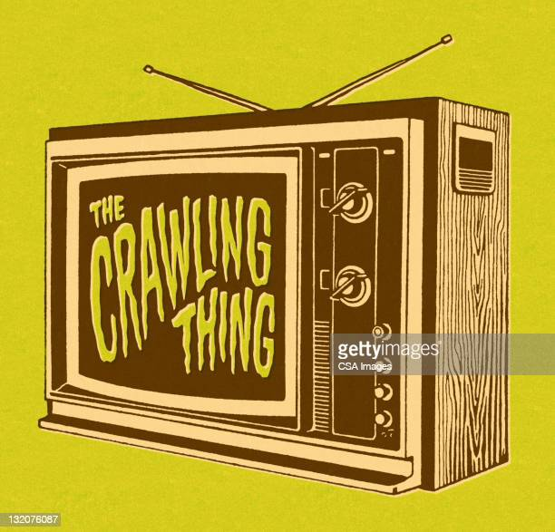 the crawling thing on tv - television aerial stock illustrations, clip art, cartoons, & icons