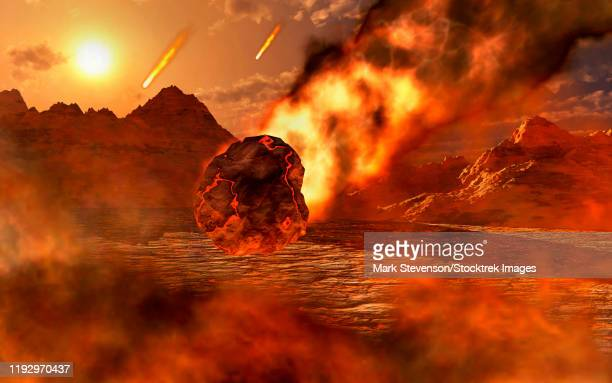 the creation of a planet, as gravity pulls in asteroids and meteorites. - lava stock illustrations
