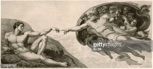 Black and white drawing of the creation of Adam painting