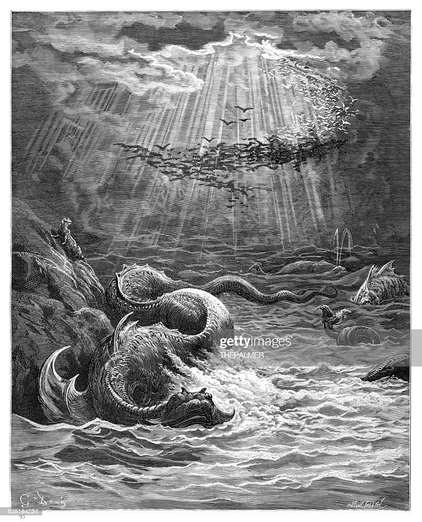 The Creation of Fish ahd Birds : stock illustration