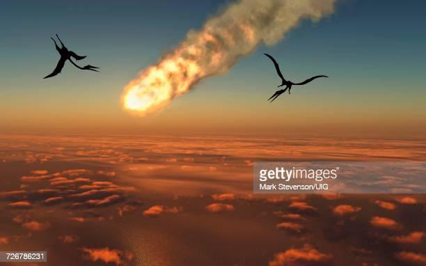 illustrations, cliparts, dessins animés et icônes de the cretaceous paleocene extinction event asteroid hitting earth - catastrophe aérienne