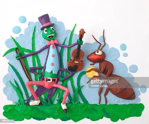 ilustraciones, imágenes clip art, dibujos animados e iconos de stock de the cricket and the ant - hormiga